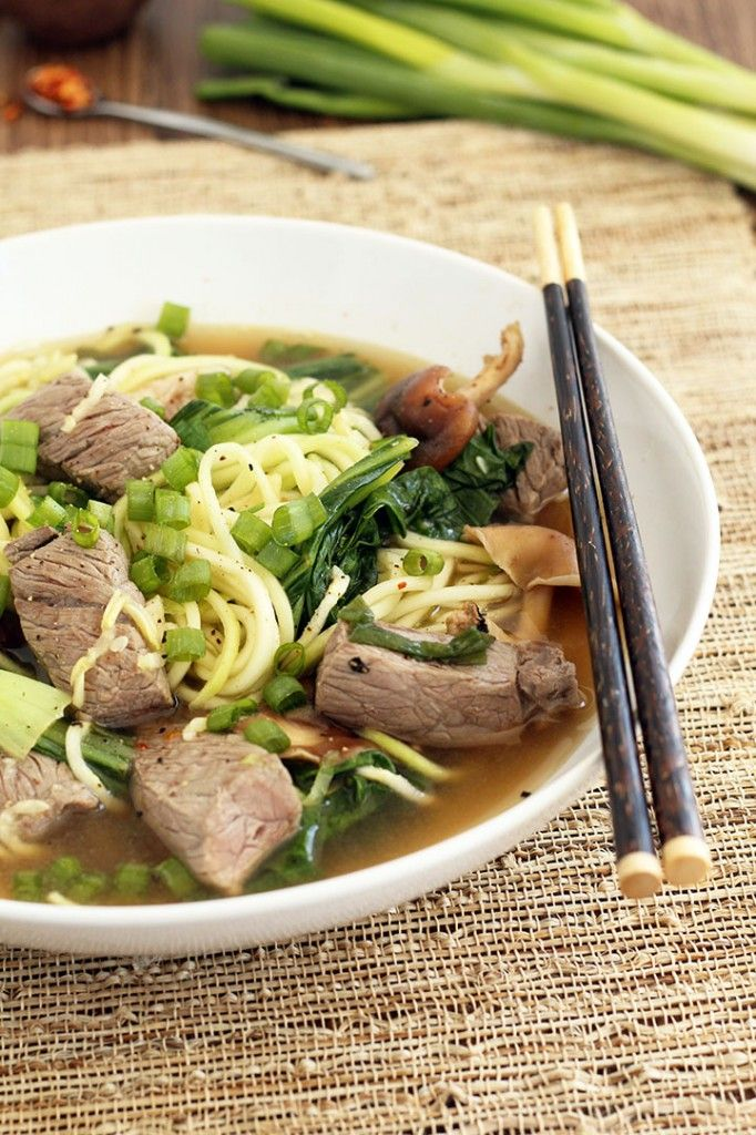 Beef Noodle Soup with Shitake Mushrooms and Baby Bok Choy #glutenfree #grainfree #paleo #primal #noodles