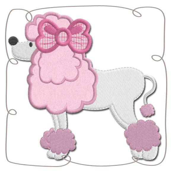 Paris Poodle Applique Machine EMbroidery Design pattern-INSTANT DOWNLOAD