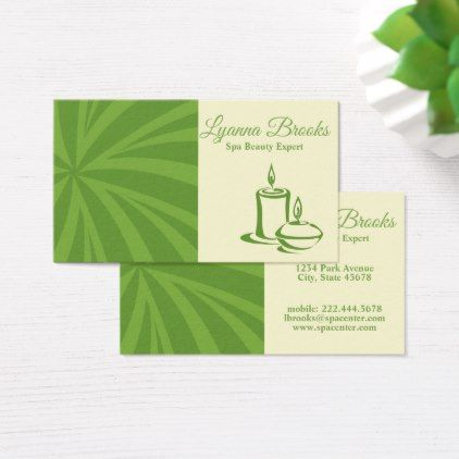 Apple Green Beige Spa Center Business Card -nature diy customize sprecial design