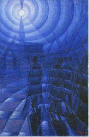 Luigi Russolo: Solidez en la niebla 1912. De nuevo la protagonista es la luz y su propagación en el espacio a través de esas ondas concéntricas que se distribuyen por toda la superficie del lienzo. Esa luz tenue que marca ese protagonismo del color azul en el lienzo, esa luz y niebla que hacen que los personajes y las figuras lo hagan en calidad de siluetas, de meras referencias.