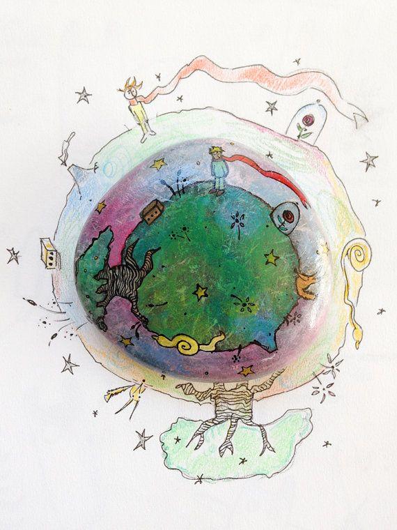 Fermacarte Piccolo Principe / miniatura artistica numerata / asteroide B612 dipinto a mano su pietra / pianeta e personaggi del libro