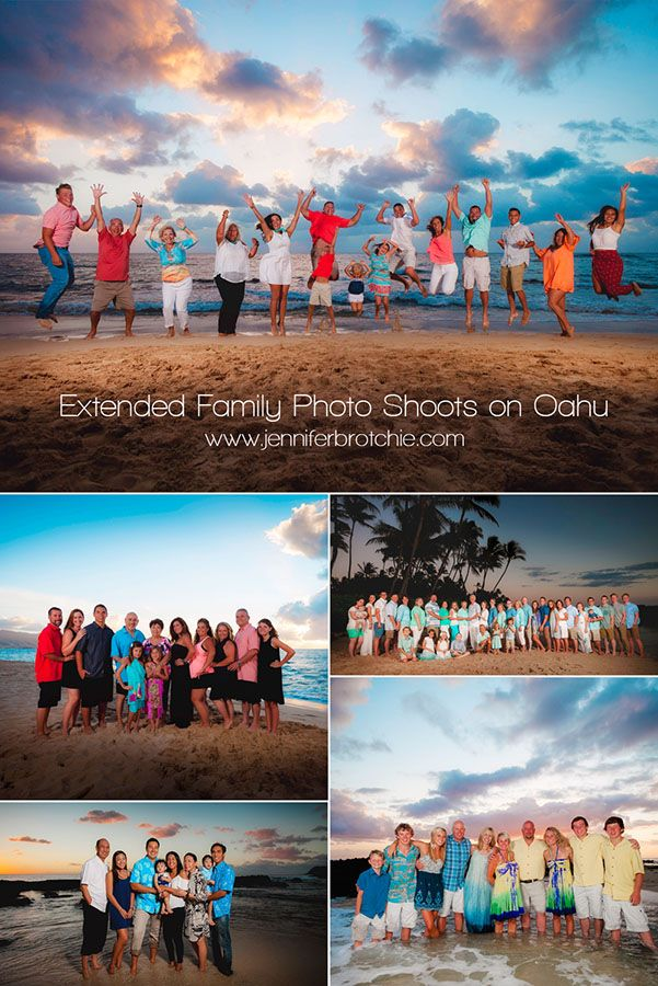 Oahu Family Photographer, Large Family Beach Photo Shoots, Waikiki Photographer, Disney Aulani Resort Beach Pictures, Turtle Bay Resort Beach Portraits, Extended Family Photo Shoots on Oahu www.jenniferbrotchie.com