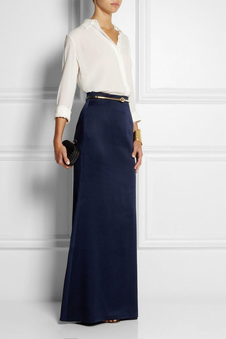 Alexander McQueen | Satin-crepe maxi skirt | NET-A-PORTER.COM