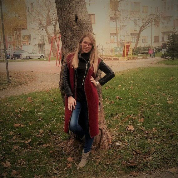 Burgundy Colour Handmade Long Vest  100%  Wool with Motif