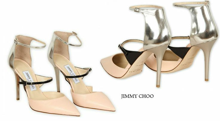 JIMMY CHOO SALMON PINK, BLACK & SILVER LEATHER 'TYPHOON' POINTED TOE PUMPS https://www.facebook.com/pages/Fashion-Trends-and-Discounts/137797606390386?ref=hl