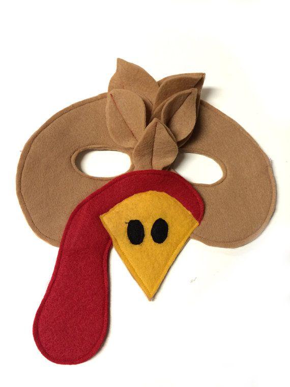 Children's TURKEY Farm Animal Felt Mask by magicalattic on Etsy