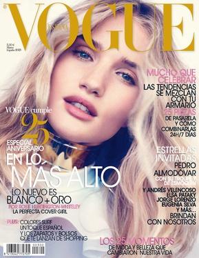 Rosie Huntington en el número de marzo 2013 que celebra el 25 aniversario de Vogue España.