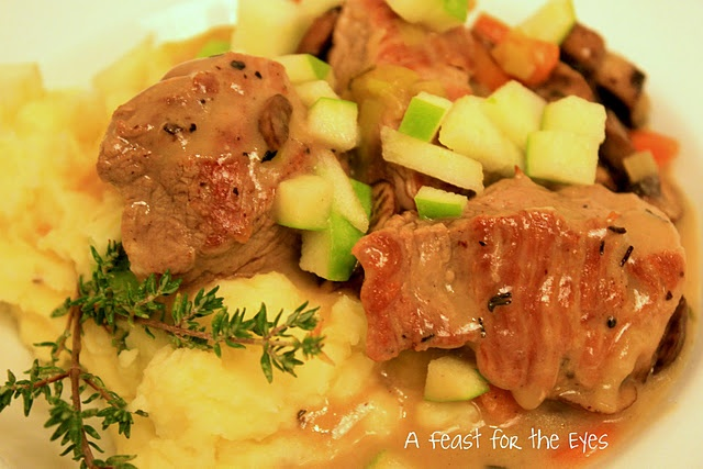 pork and mushroom stew with potato and apple mash - gotta try it