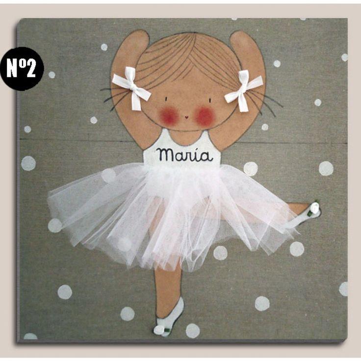 cuadros-infantiles-bailarina-blanca_2.jpg (1000×1000)