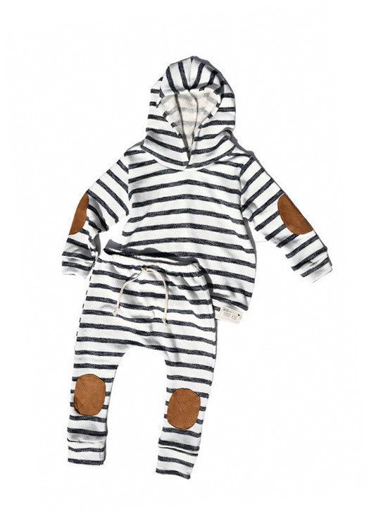 Baby Toddler Harem Sweatpants ~ Cream with Navy Stripes ~ Knee Patches