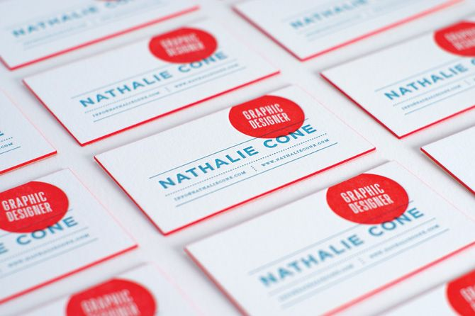 Nice coloured edges - Nathalie cone business cards