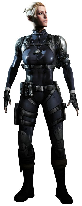 "Sergeant Cassandra Carlton ""Cassie"" Cage is a fighter introduced in Mortal Kombat X. She is a sergeant serving in the Special Forces, and the daughter of Johnny Cage and Sonya Blade. Some time after the Netherrealm War, Johnny Cage and Sonya Blade got married and had a daughter, Cassie. Due to Sonya's obsession in her work and not spending enough time with her family, however, Johnny divorced Sonya, much to Cassie's sadness. In her youth, Cassie acted somewhat spoiled, but changed after..."