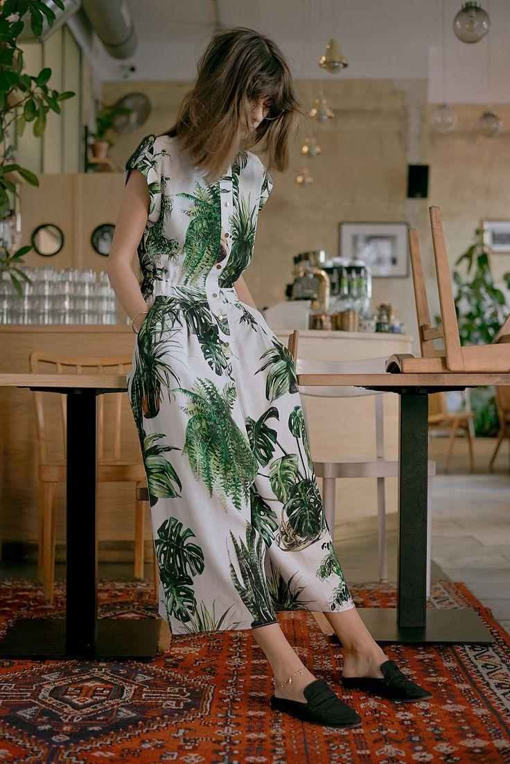 Plants print jumpsuit