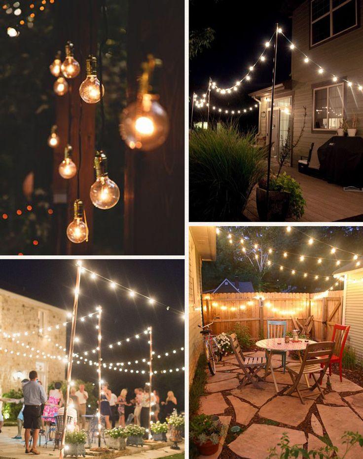 Um varal cheinho de lâmpadas para iluminar todo o ambiente é o desejo decorativo