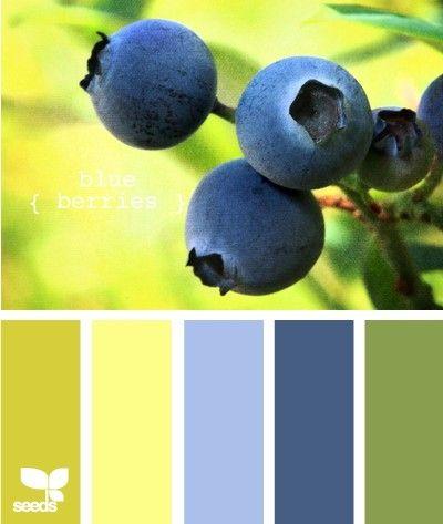 """J""""ADORE cette palette de couleurs :) Un mur bleu pour la chambre, un mur jaune pour le bureau, un mur orangé pour la cuisine...."""