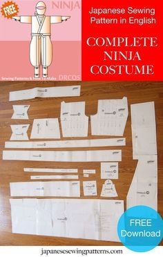 Free Ninja costume cosplay sewing pattern! The authentic pattern including all the accessories.