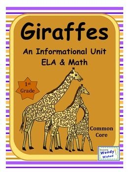 Informative science unit about my favorite animal:  the giraffe. Use this information to write a nonfiction science report.  Read, learn, do some math, then write, draw and share what you know about this baby animal.  Look at all the things included: 1.)  Are you a Giraffe?