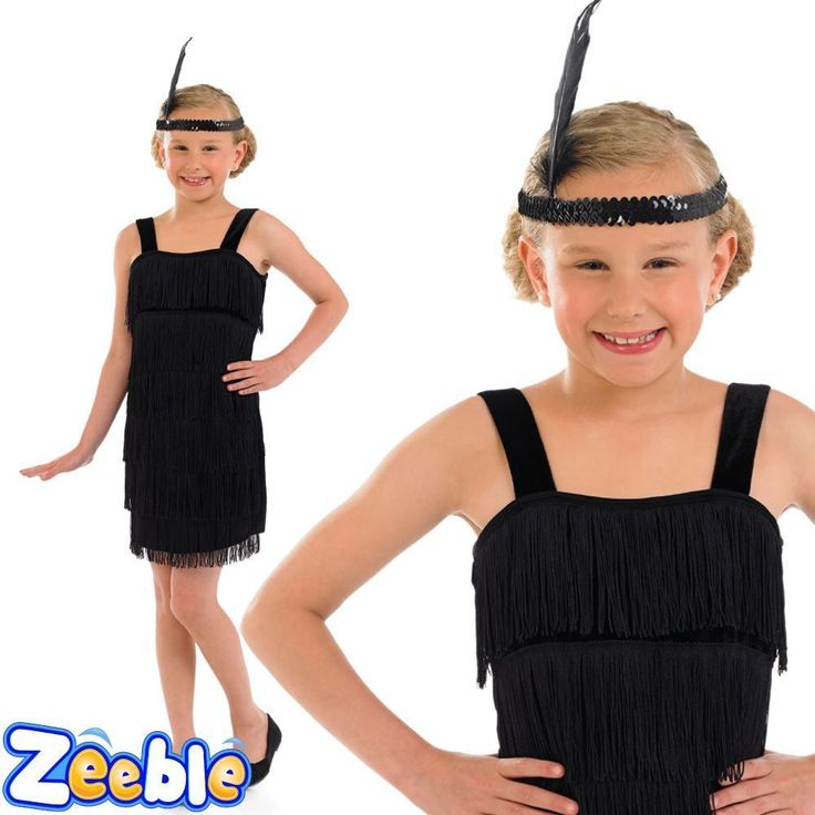 Girls 1920s Flapper Girl Costume Black Dress Charleston Kids Book Week