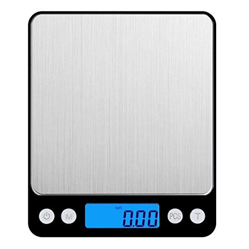 Amir 3000g/0.1g Digital Food Scale for Christmas Gifts, Pocket Kitchen Scale, Electric Mini Scale with Precison Back-Lit LCD Display, Tare and PCS Features, Stainless Steel (Black)  Stainless Steel Materials - The Smart Digital Pocket Scale is crafted to be strong, accurate, fast, and user-friendly. Constructed with a high-quality stainless steel platform, this digital kitchen scale is durable and easy to clean.  Large Weighing Range & Refined Accuracy - Manufactured with advanced high...