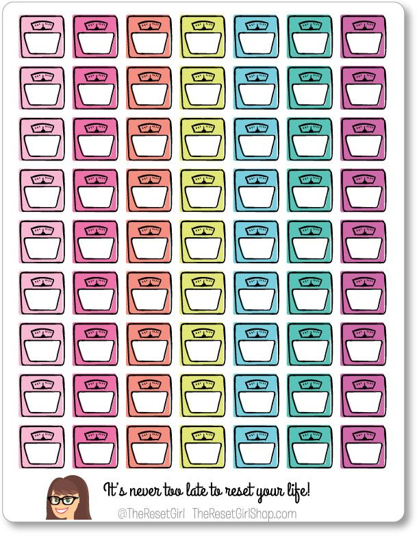 Cutie Planner Icons Weight Scales - TheResetGirlShop