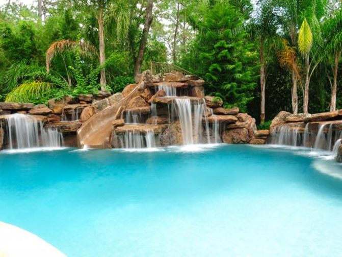 Houston Pool with artificial rock waterfalls