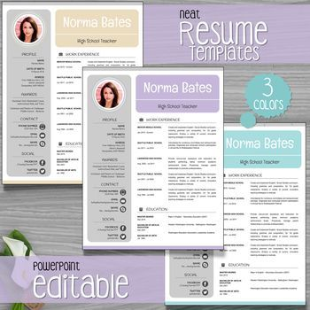 ***** 50%OFF for 48hours *****   Neat Teacher Resume Template + Cover Letter + References P