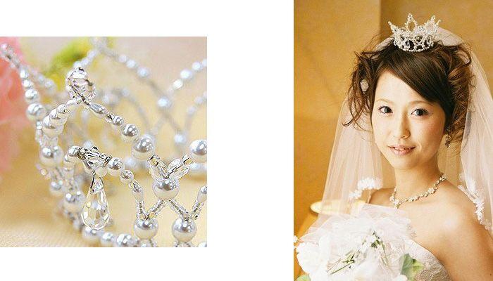 Свадебная корона из белого бисера