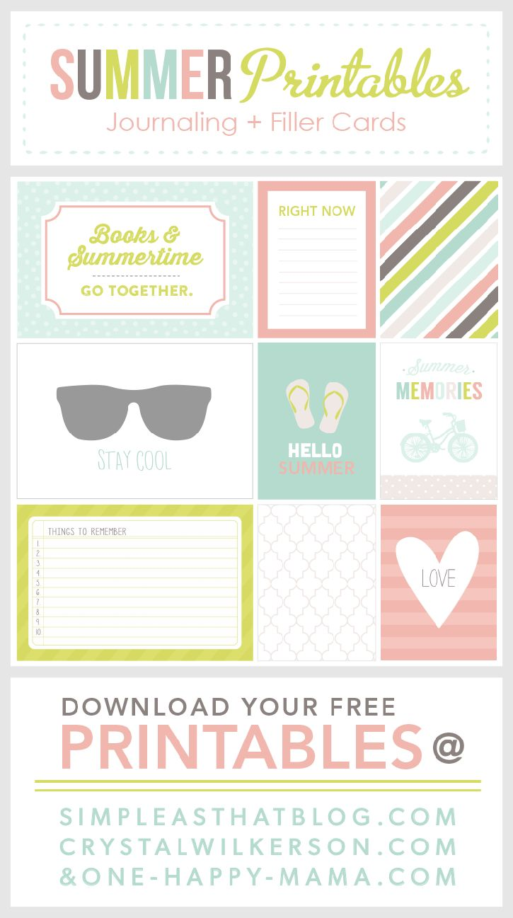 Summer themed journaling and filler cards. Free download!