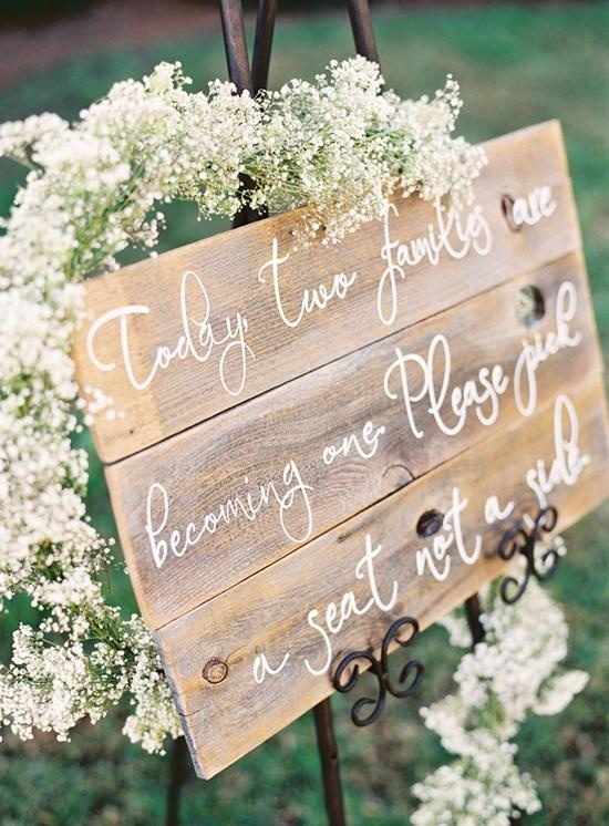 Wood wedding ceremony sign love the scroll kind of writing!