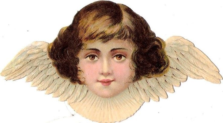 Oblaten Glanzbild scrap die cut chromo Engel 11,5 cm angel ange cherub head Kopf