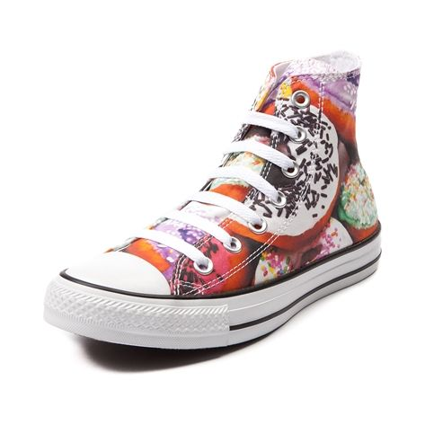 Converse All Star Hi Donuts Sneaker in Donuts at Journeys Shoes. Converse hits up the bakery for one sweet deal as it pulls off this outrageously awesome All Star Hi Donuts sneaker. Exclusive to Journeys, this classic high top features a multicolored donut print canvas upper, white contrast lace closure, and durable rubber sole. Never has canvas been so mouth watering. Available only at Journeys! Available for shipment in June; pre-order yours today!