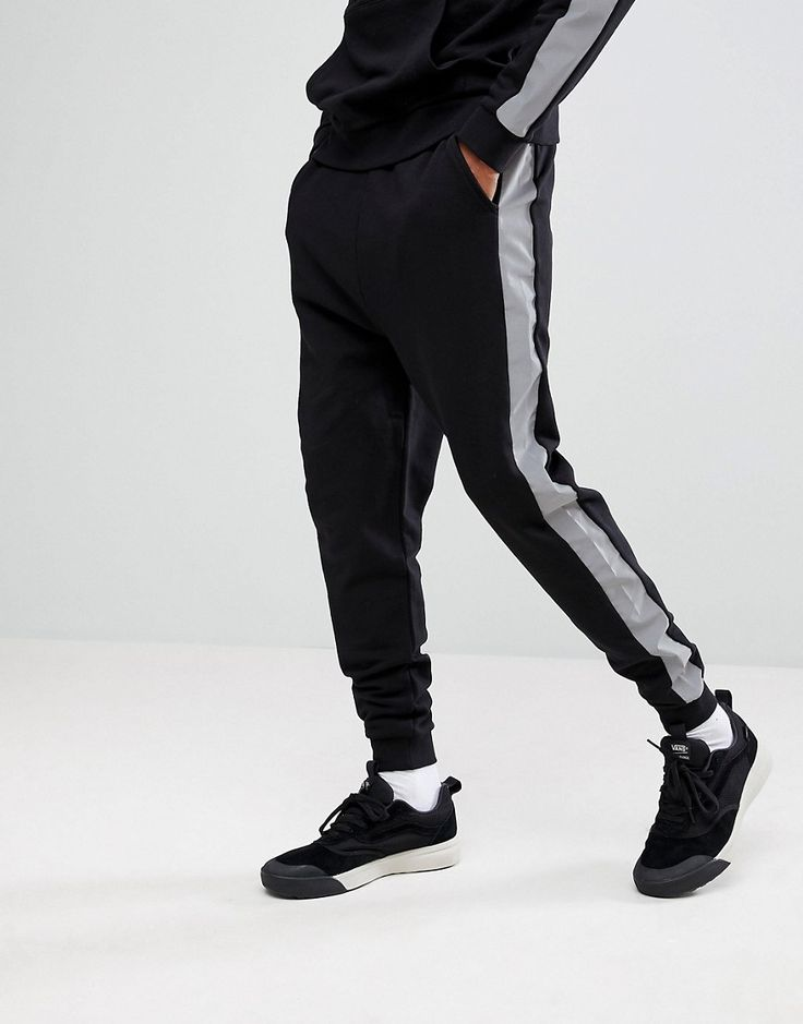 ASOS Drop Crotch Joggers With Reflective Tape - Black