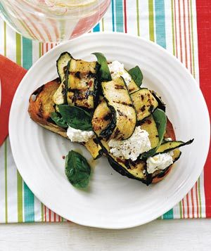 Grilled Bread With Zucchini, Ricotta, and Basil recipe from realsimple.com #veggies