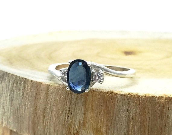 Sterling Silver Blue Sapphire Ring - Diamond Ring- Unique Wedding Ring