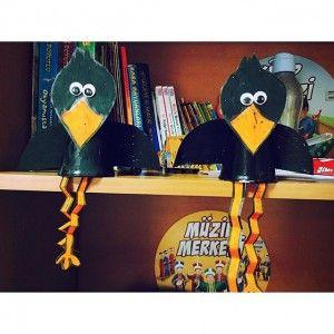 paper cup crow craft idea