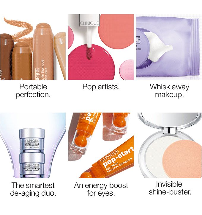 Portable perfection. Pop artists. Whisk away makeup. The smartest   de-aging duo. An energy boost for eyes. Invisible shine-buster.
