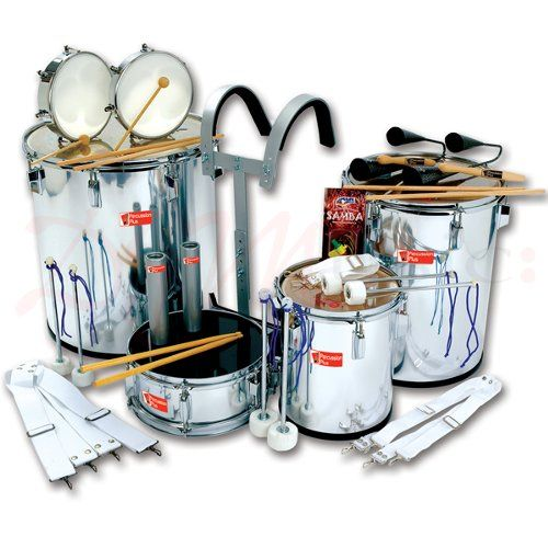 Percussion Plus 10 Player Samba Set - Percussion Plus PP7810 10 Player Samba Set. The Samba set consists of Samba drums, snare drum and harness, tambourines, cowbell, timbale sticks, metal agogos, metal shakers, samba whistle.