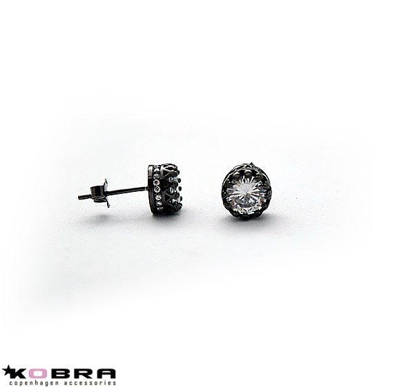 """""""Estelle"""" sort rhodineret øreringe med sten i sterling sølv"""