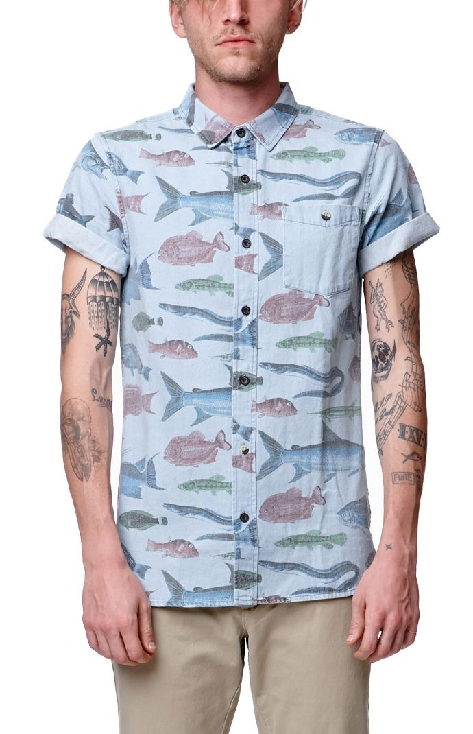 Pacsun presents the modern amusement tropical fish short for Unusual shirts for men