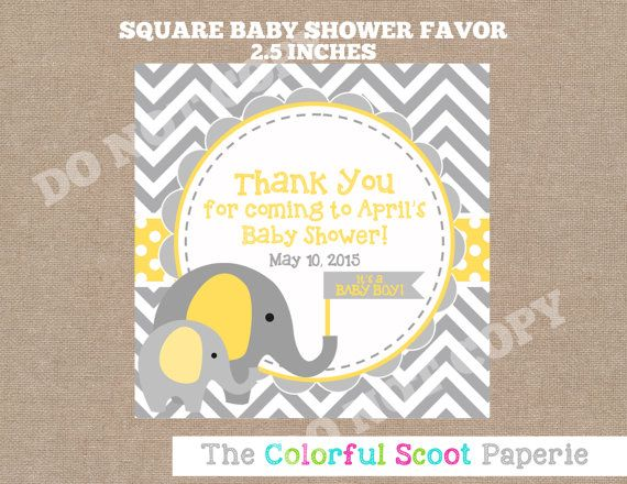 elephant shower favor yellow and grey elephant favor printable elephant shower favor gender neutral shower favor yellow and grey