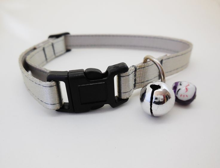 Satin lined 10mm adjustable webbing Cat Safety Collar. Silver.  Buy here: http://stores.ebay.com.au/casa-di-gata-house-of-cats