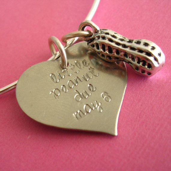Little Peanut Baby Due Date Bangle Bracelet by SpiffingJewelry, $20.00