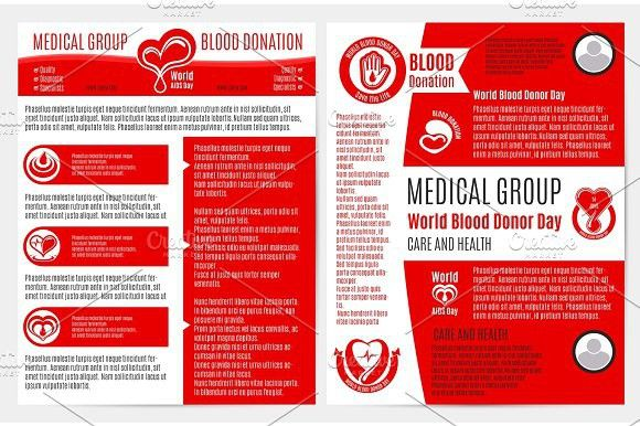 Blood donation medical brochure, poster template. Brochure Infographic