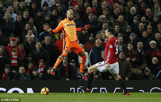 West Ham keeper Darren Randolph pulled off a string of fine saves to deny United