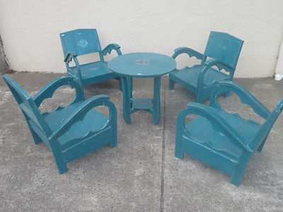 Bali Furniture Low Wooden Antique Table & 4 Refurbished Chairs Dining Set