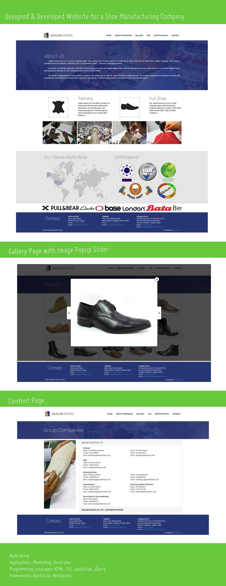 Business Website for Shoe Manufacturing Company on Behance