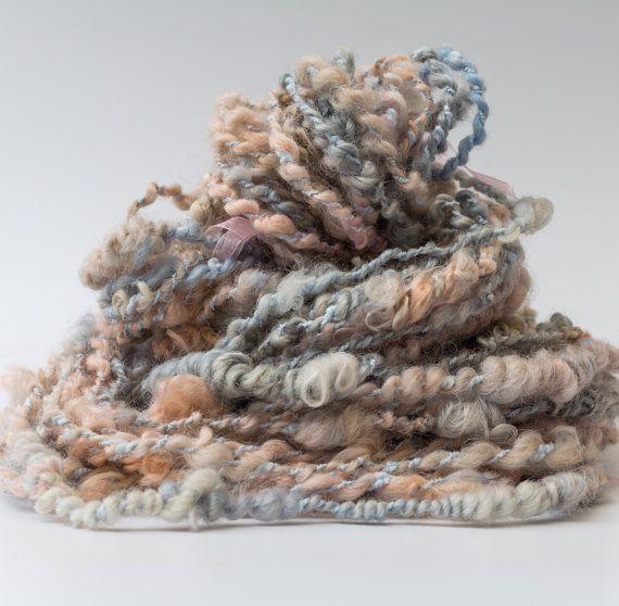 Rustic wooly wild super bulky hand spun art yarn  by Pinkipunki