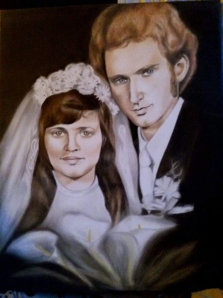 Esküvői portré olajfestmény
