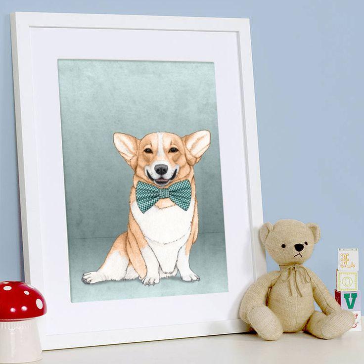 Enmarcado: Corgi Dog del artista español Barruf