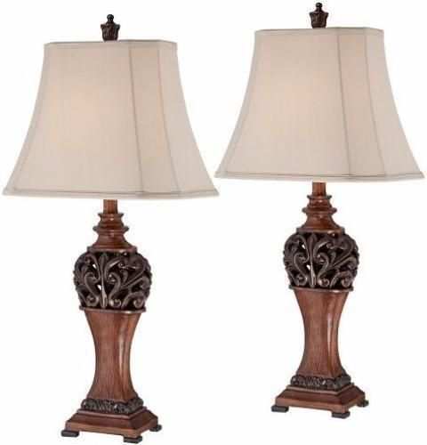 """Table Lamp Set Of 2 Rustic Design Accent Light With Creme Shades Bronze 30""""High #TableLampSet"""